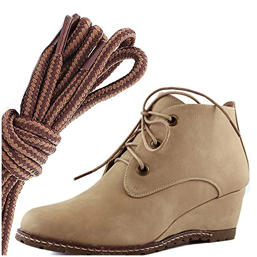 Dailyshoes Femmes Mode Lace Up Bout Rond Cheville Haute Oxford Wedge Bootie, Marron Clair Beige Beige Pu