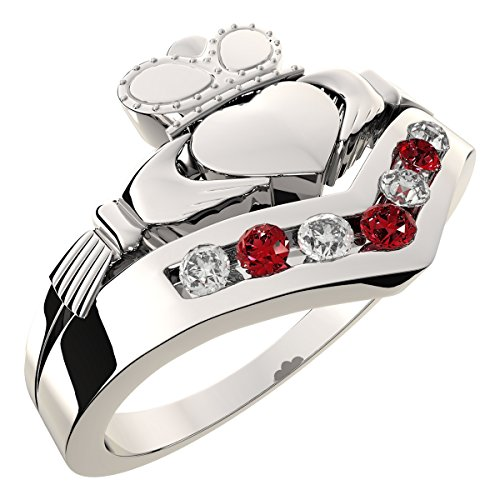 UPCO Womens Sterling Silver, Ruby Red CZ Diamonds, July Birthstone and Cancer Zodiac Colors, Irish Claddagh Wishbone Band Ring, Love, Loyalty and Friendship - 8 (July Birthstone Claddagh Ring)