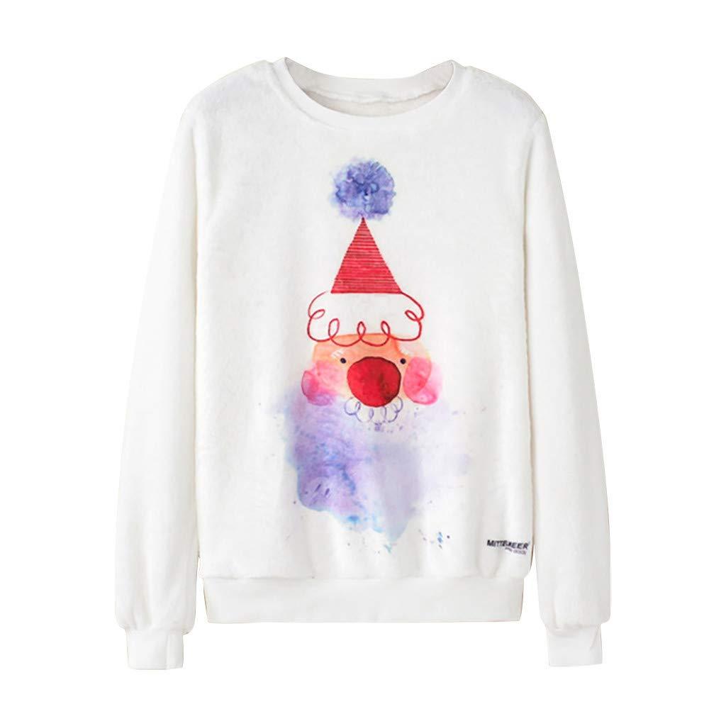 Sunmaote Unisex Ugly Christmas Sweatshirt 3D Funny Casual Xmas Pullover Faux Fur Collar Print Pullover Sweatshirt