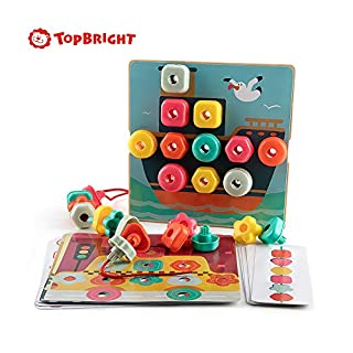 TOP BRIGHT Early Learning Toys, Stacking Peg Board, Colors Shapes Mosaic Pegboard, Fine Motor Skills Toy, Gift for Preschool Boys Girls