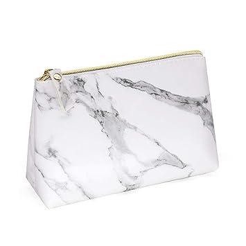 a3bee8aadb7c Amazon.com : PU Leather Cosmetic Bag Make Up Marble Portable Ladies ...