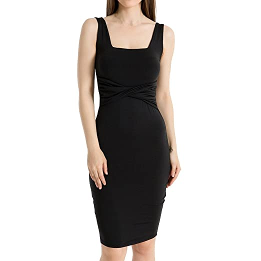 47e94e3a3548 kemilove Women's Sleeveless Tank Dress Basic Scoop Neck Bodycon Midi Dress  Black