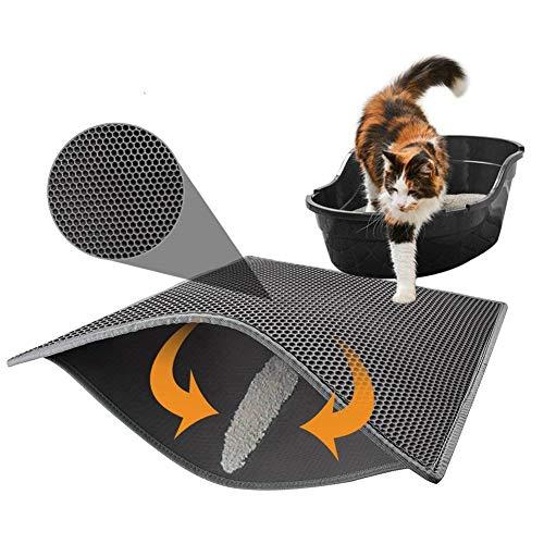 CHIRORO - Alfombrilla de Arena para Gatos, Doble Capa, Impermeable, ecológica, Ligera, de Goma, para Caja de Arena de Gato, Color Negro, ...