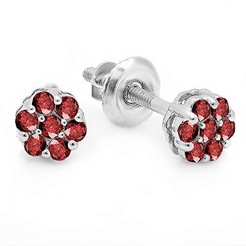 0.20 Carat (ctw) 14K White Gold Round Ruby Ladies Cluster Flower Earrings - 14k White Gold Round Ruby