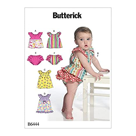 Amazon.com: Butterick Baby Easy Sewing Pattern 6444 Ruffled ...