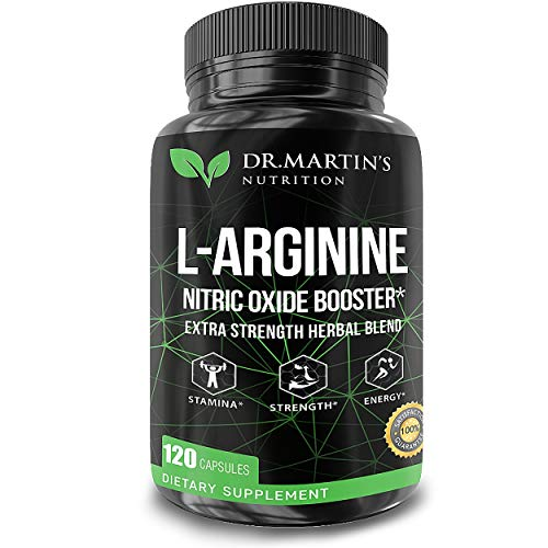 L Arginine Nitric Oxide Supplements | 120 Capsules | Enhances Muscle Growth | Powerful No Booster to Train Harder, Increase Energy & Endurance | Boost Heart Health, Blood Flow, Stamina ()