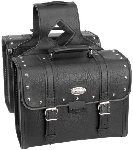 River Road Rigid Zip-Off Box Studded Saddlebags with Security Lock 107748