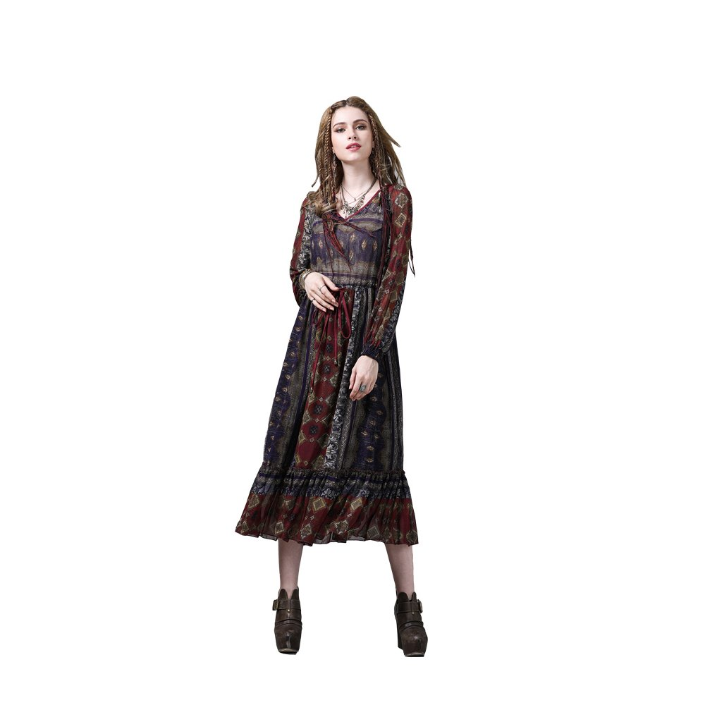 MEINO Women's Vintage Long Sleeve Casual Dress Nobel Style