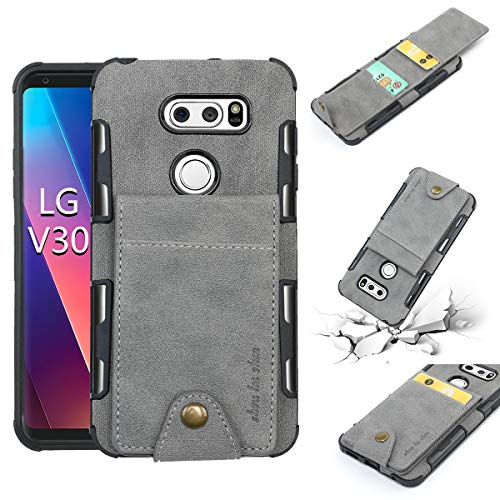 LG V30 Wallet Case, 5 ID Credit Card Slot, Button Flip-Out Leather Drop Protection Case - Gray