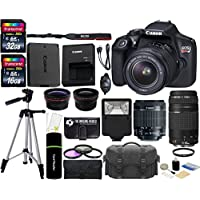 Canon EOS Rebel T6 18MP Wi-Fi DSLR Camera with 18-55mm IS II Lens + EF 75-300mm III Lens + 32GB & 16GB Card + Wide Angle Lens + Telephoto Lens + Flash + Grip + Tripod - 48GB Deluxe Accessories Bundle Explained Review Image