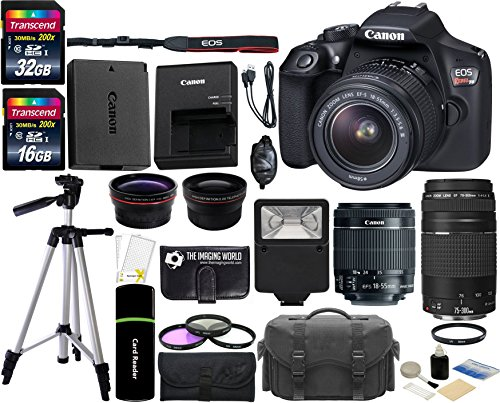 Canon EOS Rebel T6 18MP Wi-Fi DSLR Camera with 18-55mm IS II Lens + EF 75-300mm III Lens + 32GB & 16GB Card + Wide Angle Lens + Telephoto Lens + Flash + Grip + Tripod – 48GB Deluxe Accessories Bundle
