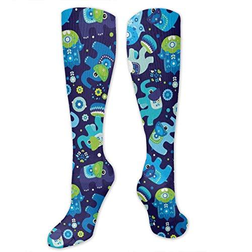 CUUOP13 Blue Boy Elephant and Hand Pattern Unisex Compression Socks Foot Long Socks Sport Soccer Mesh Tube Socks for Running,Nurses,Shin Splints,Travel,Flight,Pregnancy & Maternity (Patterns Splint Hand)