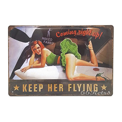 Flying Sign Tin (Naked Fanny, Keep Her Flying, Retro Embossed Metal Tin Sign, Wall Decorative Sign)