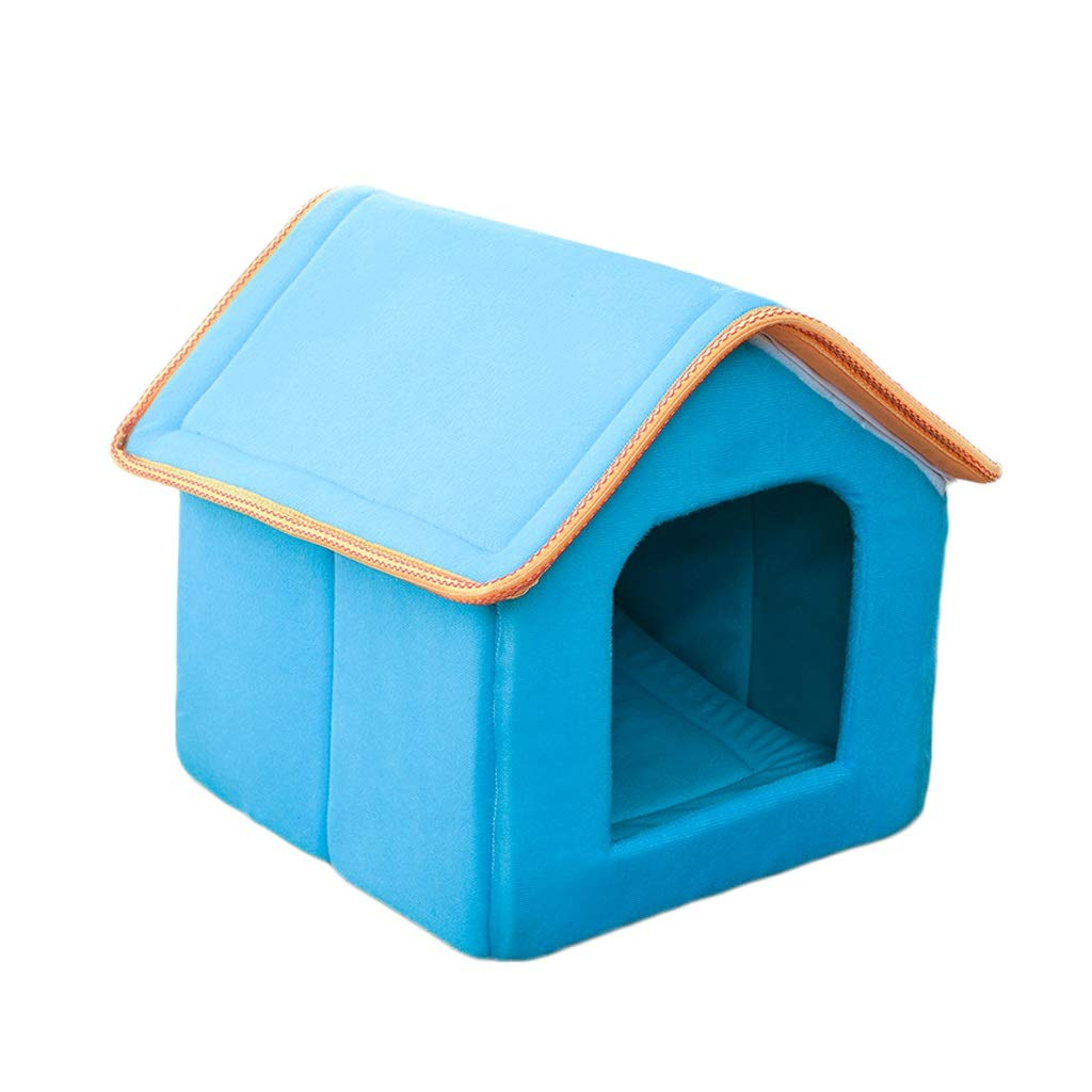 bluee SKennel Cat Litter Winter House Washable Cat Sleeping Bag Small Dog Pet Nest Pet Bed Room Three colors Optional (color   bluee, Size   S)
