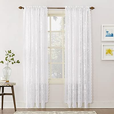 "No. 918 Alison Floral Lace Sheer Rod Pocket Curtain Panel, 58"" x 84"", White - Delicate floral lace design Gently filters light while enhancing privacy Rod pocket design allows for easy hanging on a standard curtain rod - living-room-soft-furnishings, living-room, draperies-curtains-shades - 51lh8SsxWOL. SS400  -"