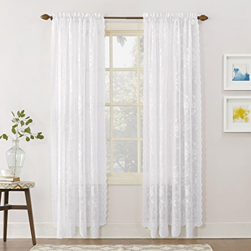 (No. 918 Alison Floral Lace Sheer Rod Pocket Curtain Panel, 58