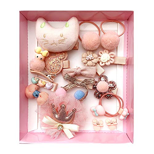 (Baby Girls Hair Accessories Cute Hair Clips Ties Fully Covered Bows with Hanger Set, for Infant and Toddlers 18pcs (Snow Pink) )