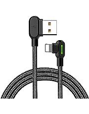 Mcdodo Rechthoekige USB-kabel met LED-licht 90 graden oplaadkabel nylon gevlochten omkeerbaar USB snelle gegevenssynchronisatie oplaadaansluitadapter 1.8M