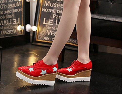 Cu Soles Grueso Zapatos Rojo Wealsex 7CM a De a Zapatos Mujer Mujer de Casuales Cu Moda Para HwqnRPH8T