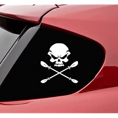 Skull and Kayak Paddle Crossbones Funny Vinyl Decal Sticker | 5.5 X 5.5 in… | CCI195: Automotive