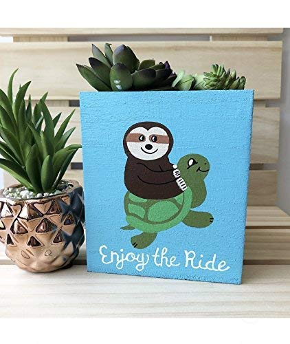 Sloth Turtle Painted Wood Box, Cute Succulent Planter