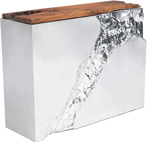 Zuo Modern Luxe Console Table, Designed with a Unique Fissure that Splits Down the Front of Each Piece, 47.2 W x 36.6 H x 15.7 L Overall Dimensions, Natural and Stainless Steel Finish