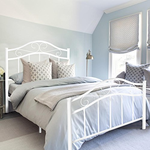 Kingpex Metal Bed Frame Twin Size with Headboard and Footboard/Metal Platform/Steel Slats Bed/Mattress Foundation/Box Spring Replacement/6 Legs/for Girls Boys Kids Adult Bedroom/White by Kingpex