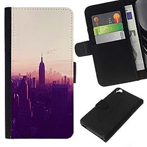 All Phone Most Case / Oferta Especial Cáscara Funda de cuero Monedero Cubierta de proteccion Caso / Wallet Case for HTC Desire 820 // Nueva York City Empire State atardecer