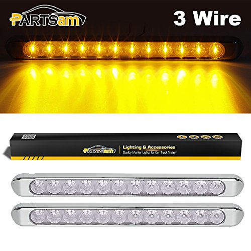 Partsam 2Pcs 17 Inch Amber Led Trailer Lights Bar 12LED Clear Lens with Chrome Bezel Surface Mount Waterproof Thinline Truck Led Turn Signal Parking ID Marker Clearance Identification Light Bar 12V