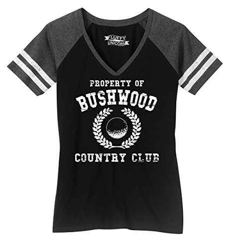 Ladies Game V-Neck Tee Property of Bushwood Funny Caddyshack Shirt Black/Heathered Charcoal M ()