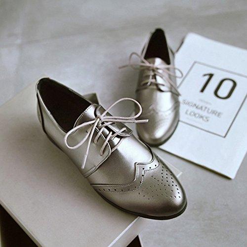 Btrada Femmes Classique Brogue Oxford Chaussures À Lacets Bout Pointu Casual Chaussures Argent