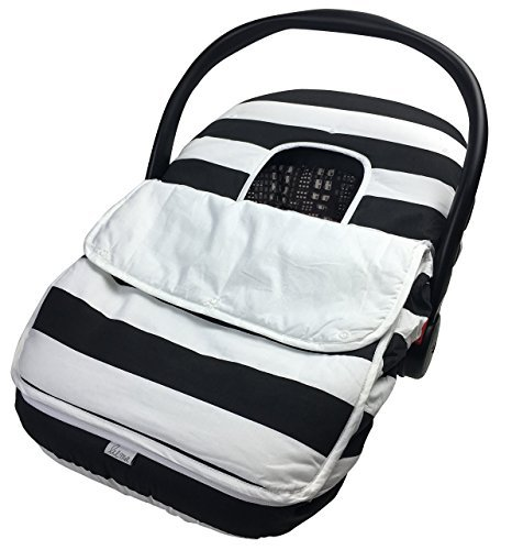 Baby Car Seat Covers-Soft Breathable Infant Carseat Canopy For Boys & Girls-Cozy Filled 100% Cotton Fabric-Any Weather or Season, Universal Fit-Premium Quality Design By Lil Me (Black & White Stripe)