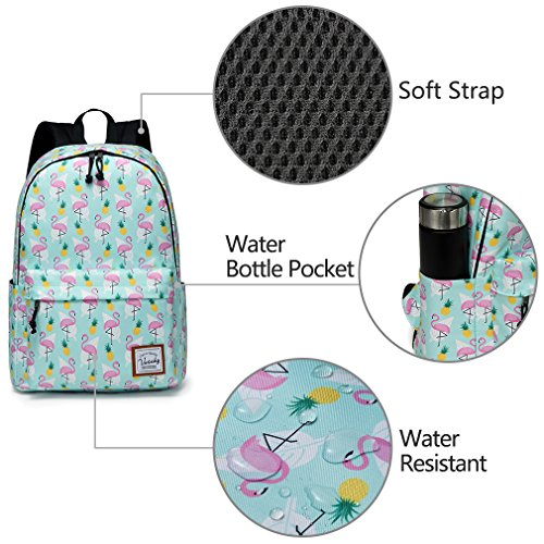 School Backpacks for Girls,Vaschy Cute Lightweight Water-Resistant w 14in Padded Laptop Sleeve in Pineapple Flamingos by Vaschy (Image #2)