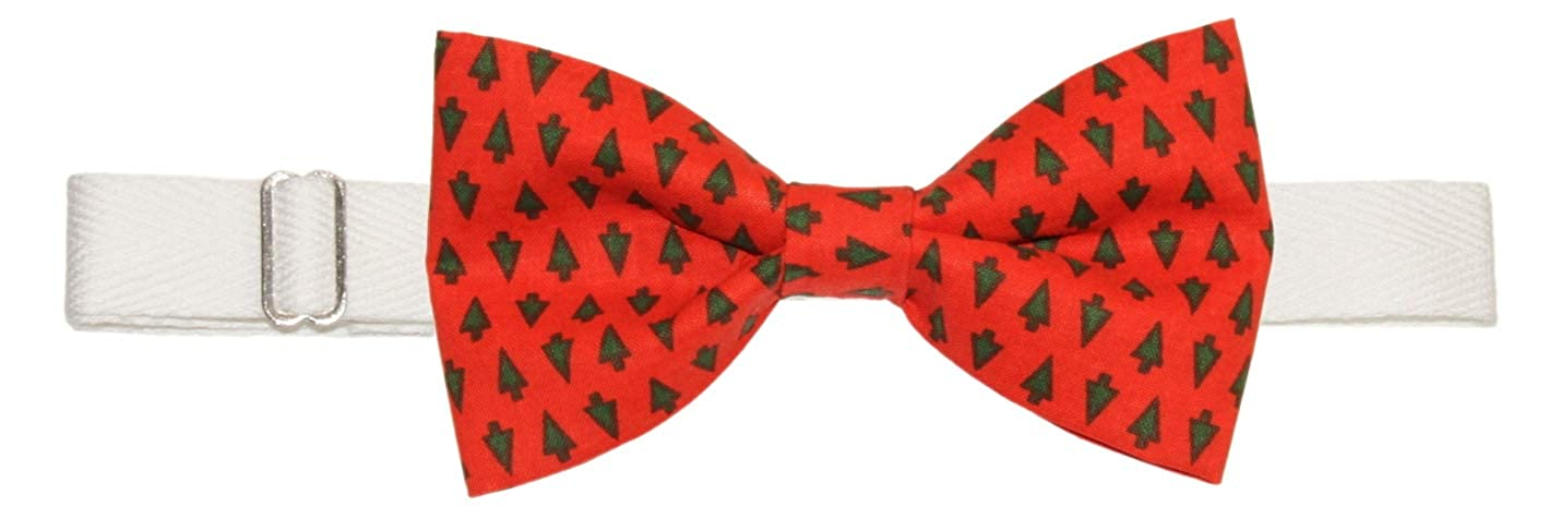 Mens Red Green Mini Holiday Trees Pre-Tied Adjustable Cotton Bow Tie