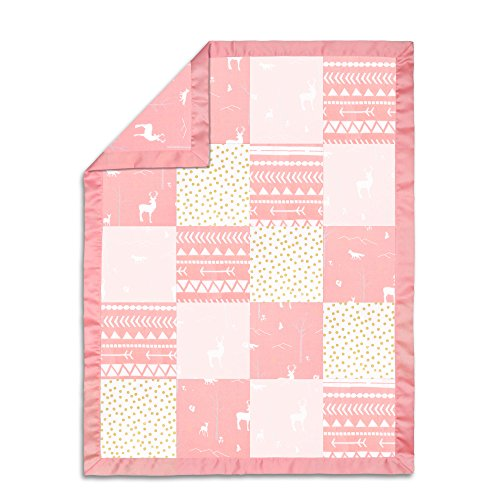 100% Cotton Muslin Coral Woodland Patchwork Baby Blanket by The Peanut Shell by The Peanut Shell (Image #1)