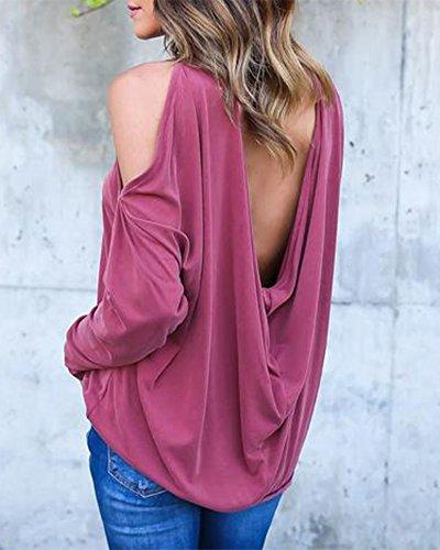 Mujeres Camiseta Manga Larga Chaleco Casual Tops Slim Blusas Escotado Por Detrás Rojo