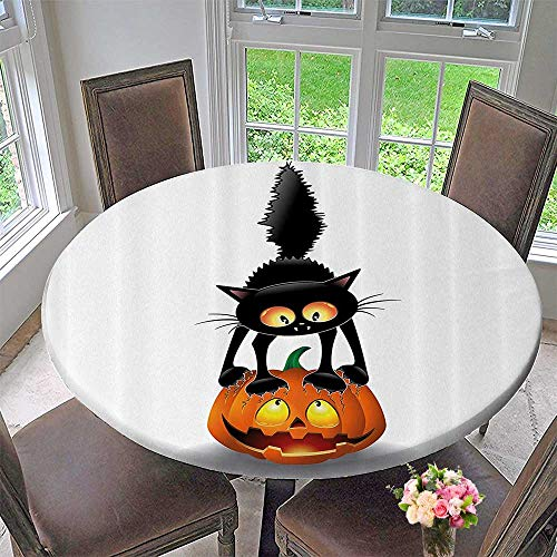 Mikihome Round Premium Table Cloth Black Cat Pumpkin Head Spooky Carto Characters Halloween Humor Themed 50