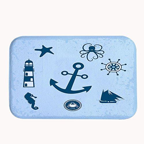 Poppylife Sea Anchor Lighthouse Rug Super Absorbent Bath ...