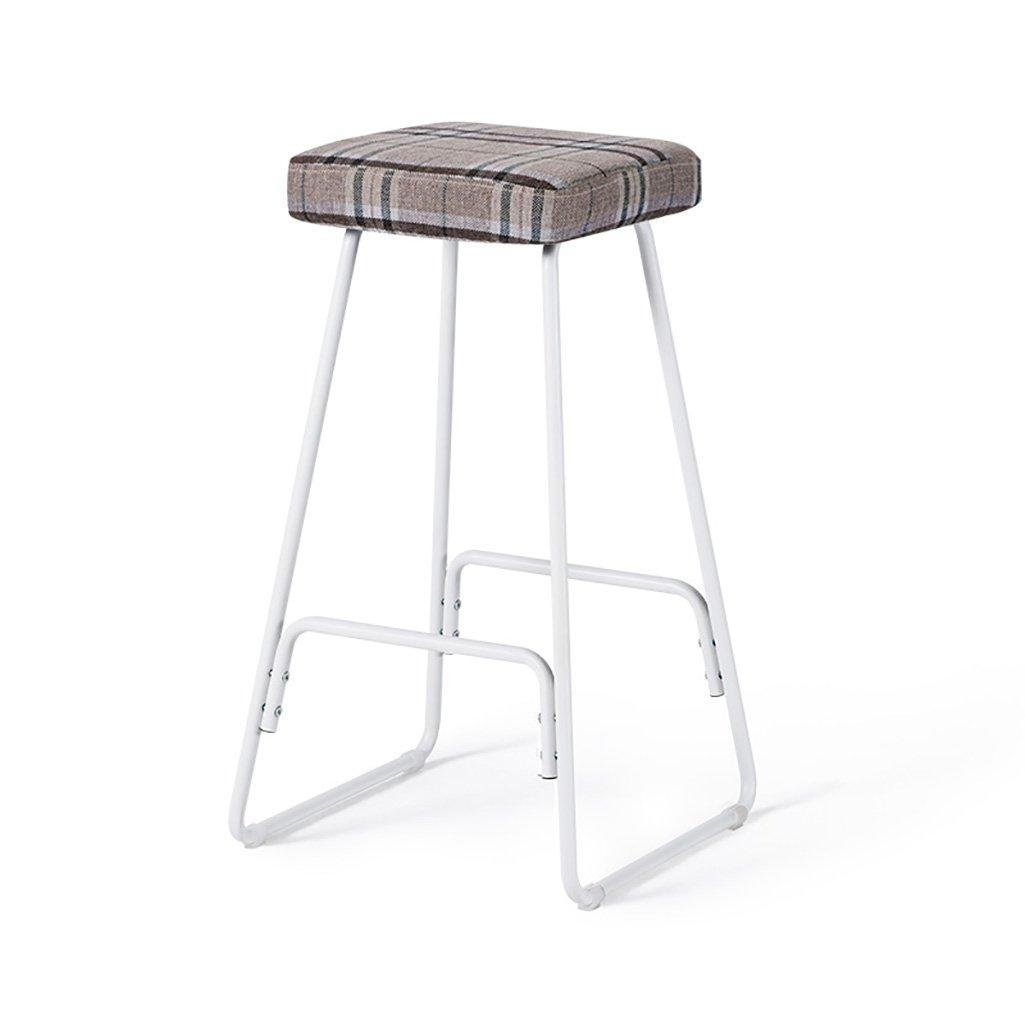 H LXJYMX Living Room Stool Bar Stool Creative Wrought Iron bar Stool Modern Minimalist Wooden high Stool Retro Stool (color   B)