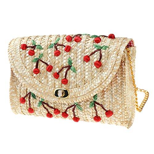 Women Messenger Cherry Crochet Prettyia Retro Chain Bag Straw Satchel Crossbody Shoulder Woven ffTIqw