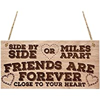 SODIAL Side By Side Or Miles Apart Friends Are Forever Close To Your Heart Love Friendship Best Friends Gift Hanging Wooden Plaque Best Friend Sign Present