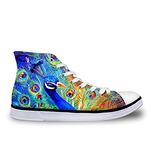 For U Digns Fashion Unisex Owl Wolf Horse Animal Print High Top Lace Up Zapatos Casual Canvas Sneakers Para Mujeres Y Hombres Peacock