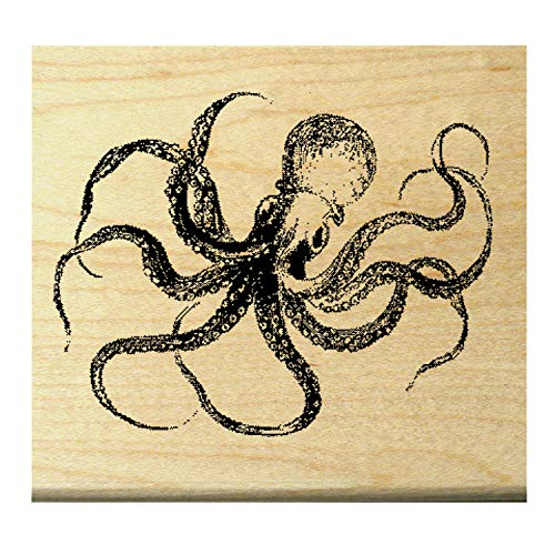 P26 Octopus rubber stamp Wood Mounted