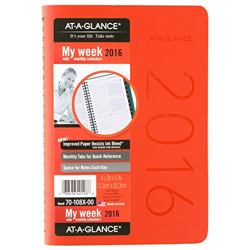 AT-A-GLANCE Weekly / Monthly Planner 2016, Contemporary, 4.88 x 8 Inches, Assorted Colors - Color selected May Vary (70-108X-00)
