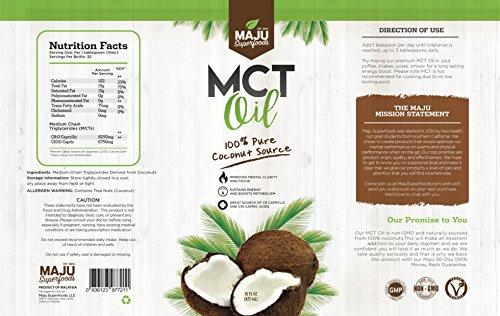 MAJU's Coconut MCT Oil: 100% Coconut, No Nasty Aftertaste, Keto & Coffee Friendly, C8 & C10 Fatty Acids, Non-GMO, Odorless, Elite Quality
