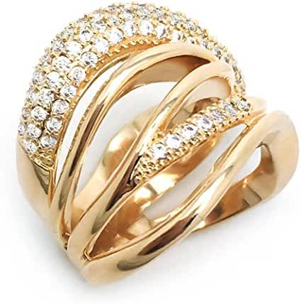 Sparkly Bride Gold Plated Waved Multi Rows Cubic Zirconia Polished Wide Band Women Fashion Statement Ring