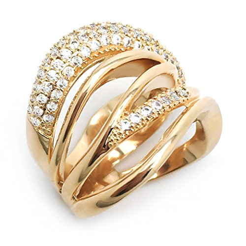 Criss Row Cross - Sparkly Bride Wide Band Gold Plated CZ Multi Rows Criss Cross Women Fashion Statement Ring Size 7