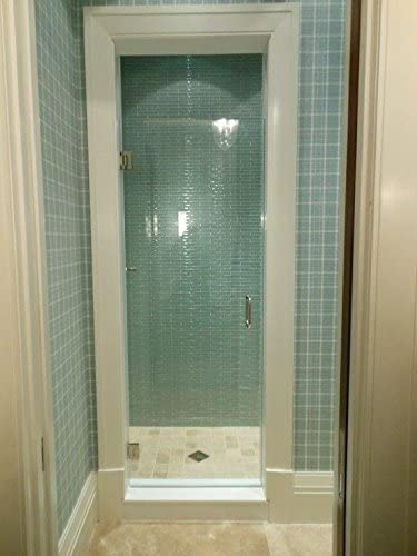 "24""-28"" Frameless Shower Door with Brushed Nickel or Chrome Hardware Combo"