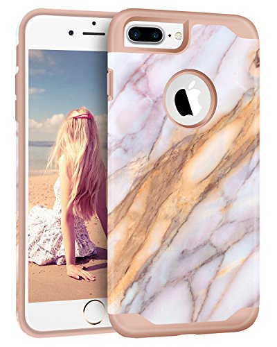 (iPhone 7 Plus Protective Case, iPhone 7 Plus Case, ImikokoTM Marble Pattern Hard PC with Durable Flexible TPU Hybrid Case for iPhone 7 Plus)