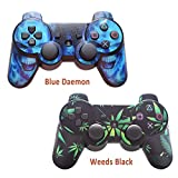 Cheap 2pcs Skin Stickers for Playstation 3 Controller – Vinyl Leather Texture Sticker for DualShock 3 – Protectors Decal Wireless Game Controllers – Weeds Black&Blue Daemon [ Controller Not Included ]